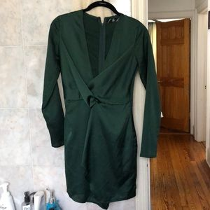 Missguided satin wrap plunge dress sz 0
